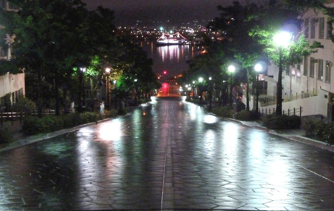 北海道の函館の観光旅行 八幡坂の夜景
