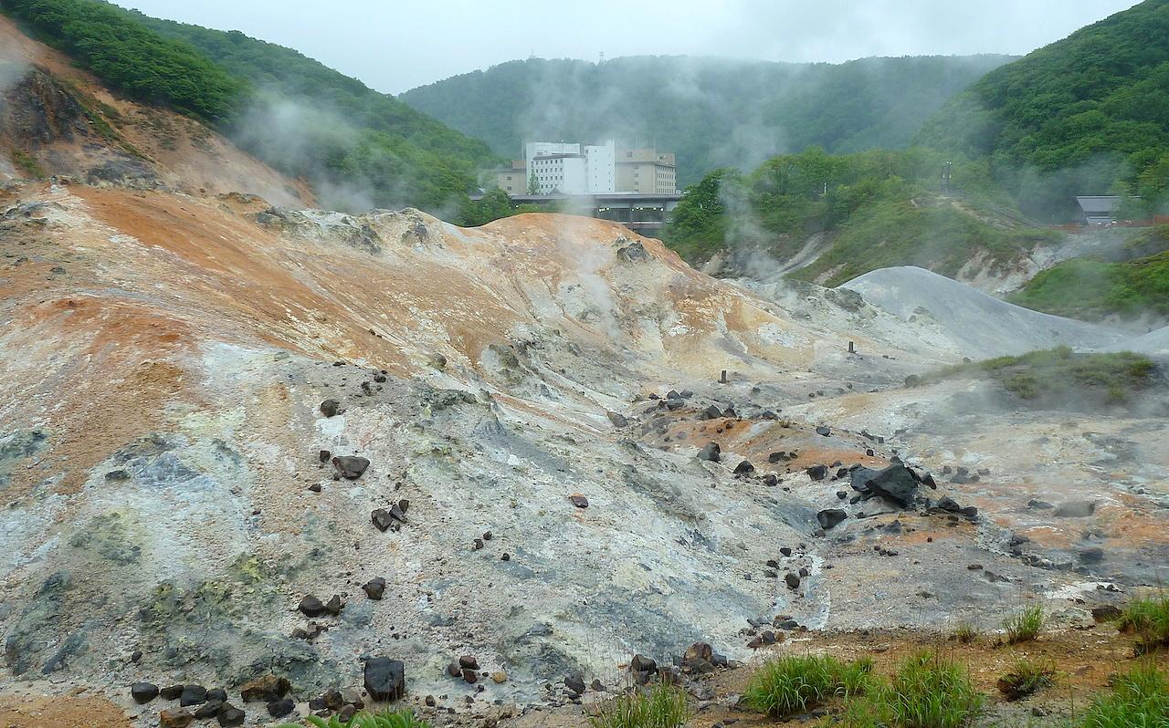 北海道の登別温泉の観光旅行 地獄谷